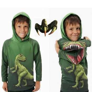 Jurassic World Boys Dinosaur T-Shirt Spring and Autumn Children Hooded Long Sleeve Sweater Kids Top Clothes 100% Cotton Hoodie - DISCOUNT ITEM  53% OFF All Category