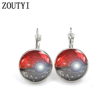 New / style glamorous fashion Pokemon earrings, convex and concave glass inlaid earrings jewelry.