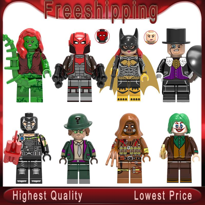 DC  Super Heroes Joker Bane Riddler Scarecrow Poison Ivy Penguin Building Blocks Toys For Children   X0227