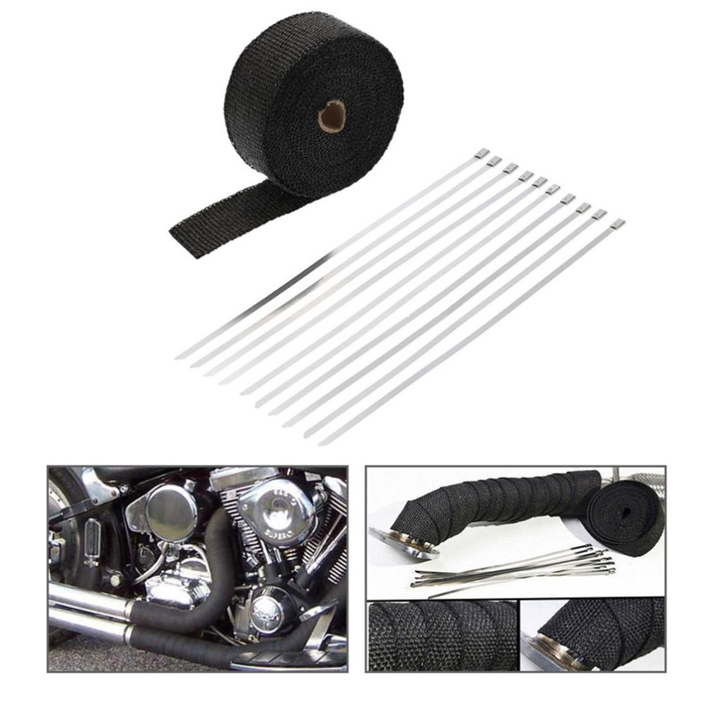 15M 5CM 10M 5CM Motorcycle font b Exhaust b font Insulation Tape with 10 Fixed Ties