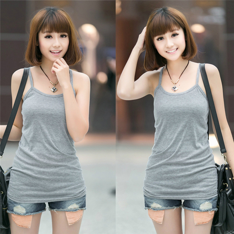 Women Stretchy Camisole Spaghetti Strap Long   Tank     Top   Slip Mini Dress 4Color SIZE XXL is available Now