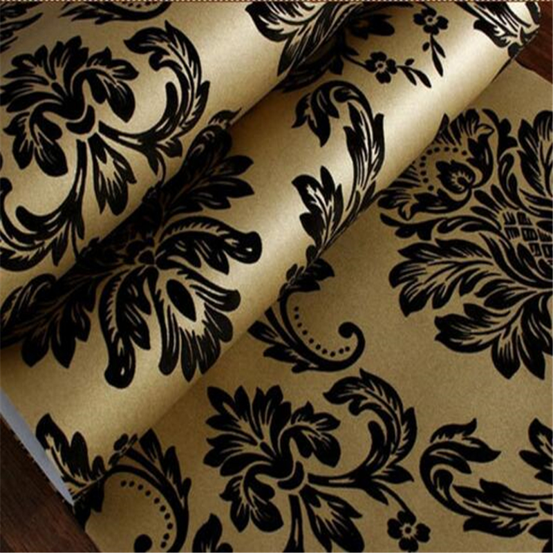 Beibehang High-end velvet wallpaper European Damask flocking wallpaper Living room bedroom TV background wall paper