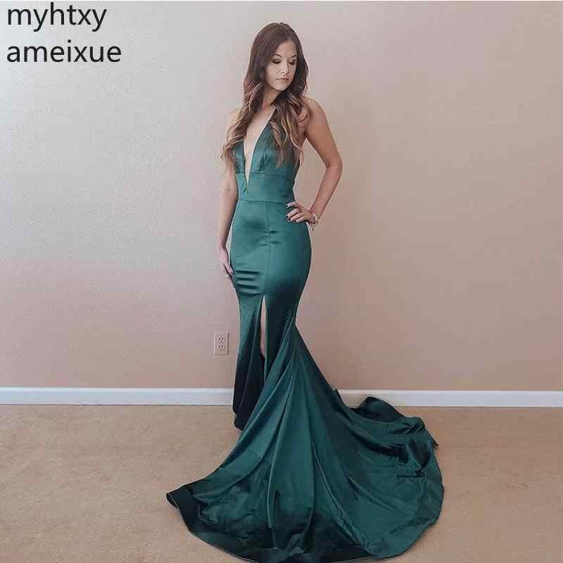 Зеленое вечернее платье с глубоким v-образным вырезом, атласное, 2019, стиль русалки, женское вечернее платье, спереди, с разрезом, сексуальное платье, большие размеры