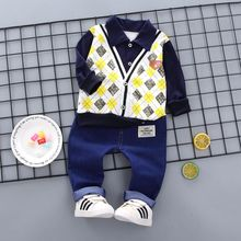 Baby Boy Clothes Cotton Fake 2 Pieces Design Long Sleeve Floral Shirt Tops Denim Pants Trousers Outfits Set long sleeve patch design suede insert denim shirt