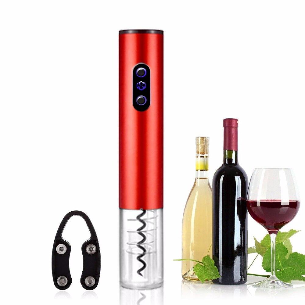 Heiße Elektrische Wein Öffner Elektrische Automatische Wein Flasche Opener Automatische Korkenzieher Mit Folie Cutter Und Vakuum Stopper 3 Farben