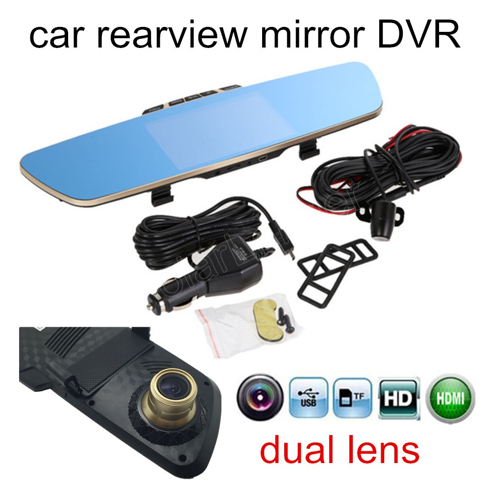 12V DVR Dash-Cam Two-Camera Camcorder Car-Rearview-Mirror Dual-Lens Auto LCD HD 5--Inch