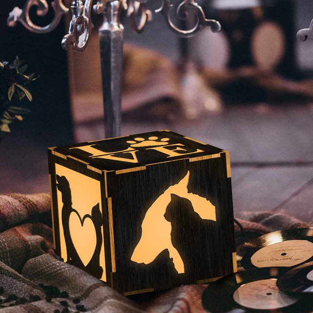 1Piece Cut Dogs Cats Table Lamp Handmade Wooden Lantern Personalized Gift ideas I Love Cats And Dogs Color Lamp LED Night Lights