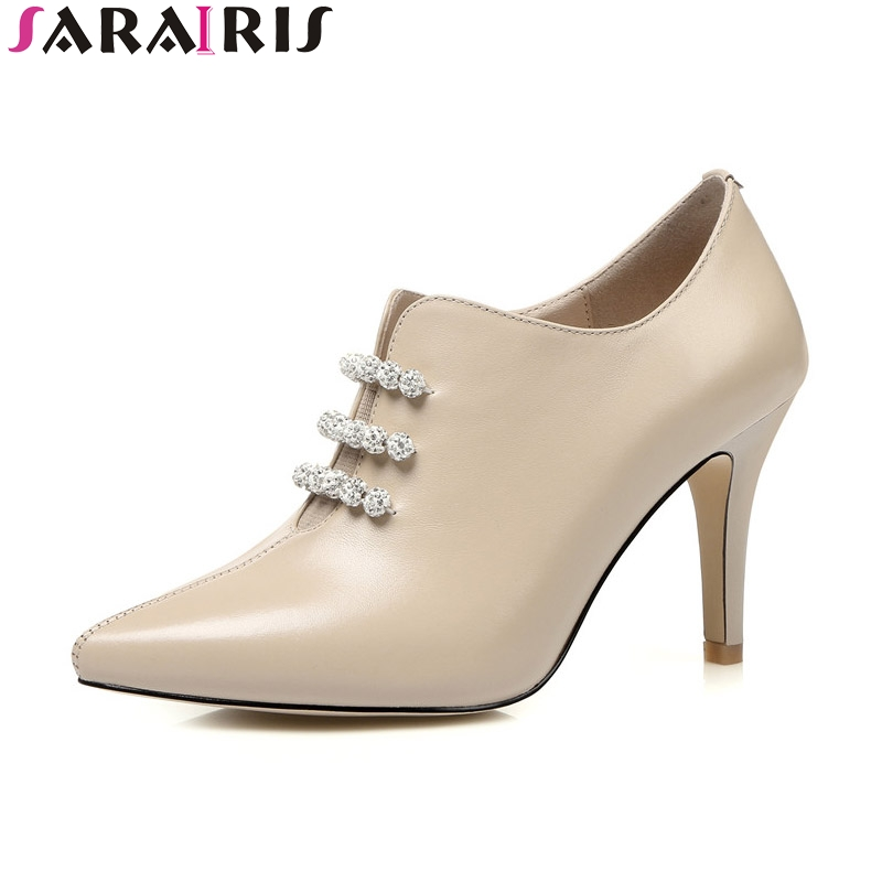 SaraIris 2018 Spring Autumn Cow Leather Shallow Pumps Beading Pointed Toe Slip-On High Thin Heel Women Shoes Large Size 33-40 enmayer spring autumn women fashion wedding pumps shoes rhinestone beading pointed toe slip on thin heels large size 34 43 white