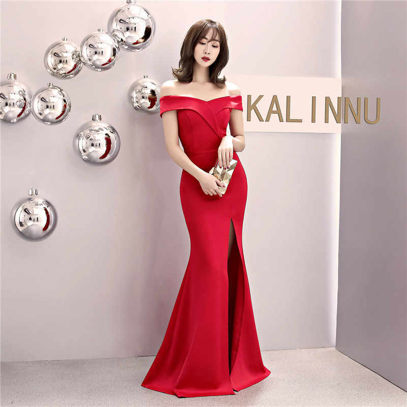 זה Yiiya שרוולים שמלת ערב סירת צוואר באורך רצפת בת ים שמלות נשף סקסי אדום שחור רוכסן חזרה ארוך מפלגת שמלות c087