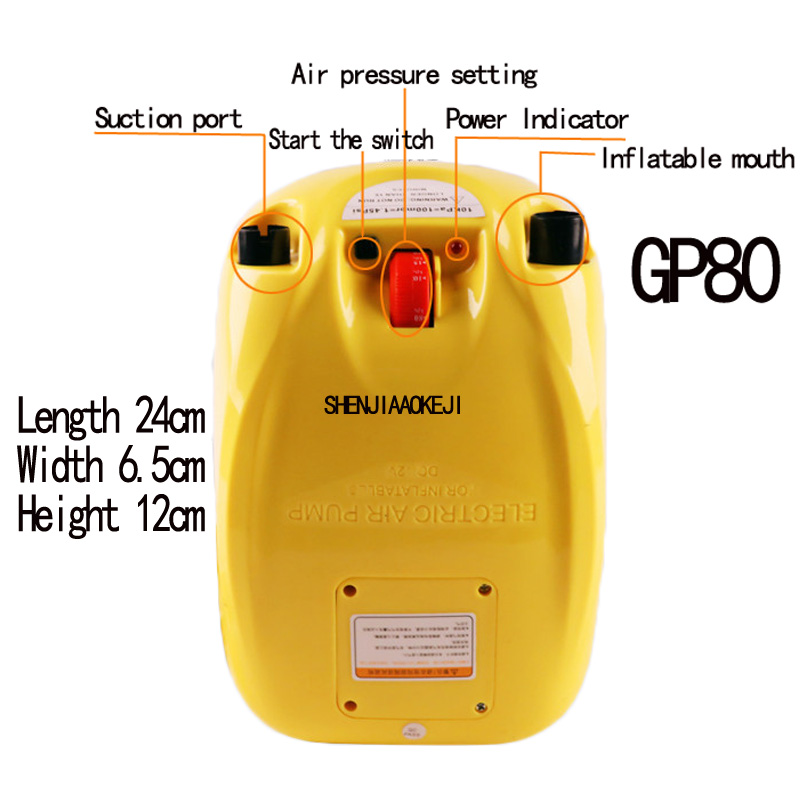 GP80 Rubber dinghy inflatable pump high-pressure electric pump fishing boat inflatable boat portable electric pump 12V 1PC rowing boats rubber boat kit pvc inflatable fishing drifting rescue raft boat life jacket two way electric pump air pump paddles