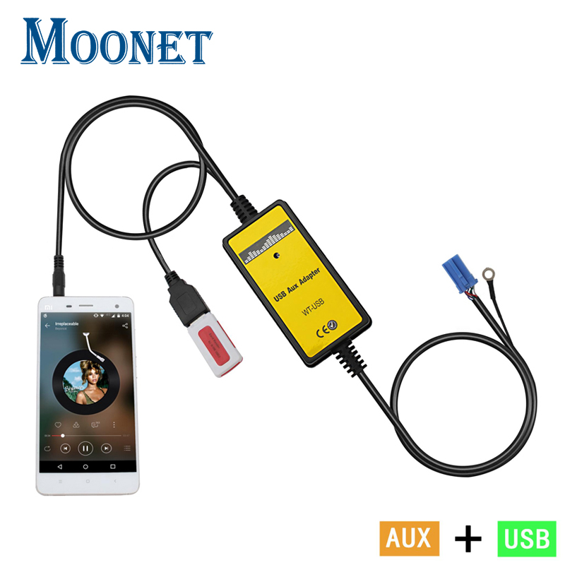 Moonet Car MP3 player adapter 3.5mm AUX-IN TF SD USB CD Changer For 12P VW Skoda Seat Touareg Touran Spuerb Octavia  QX010 adapter