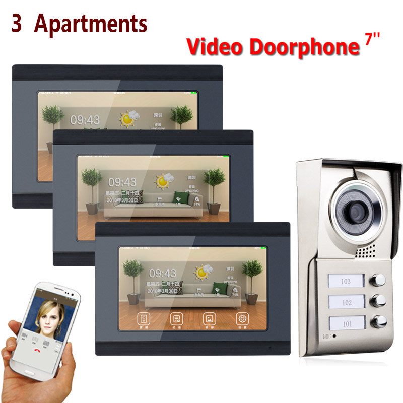 7inch Record Wireless Wifi 3 Apartments Video Door Phone Intercom System IR-CUT HD 1000TVL Camera Doorbell Camera With 3 Button