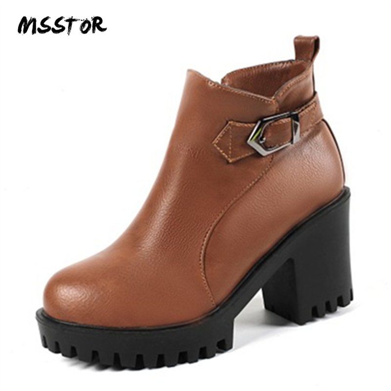 MSSTOR Casual Buckle Strap Winter Boots Women 2018 Plush Black Elegant Booties Zipper Platform Boots Round