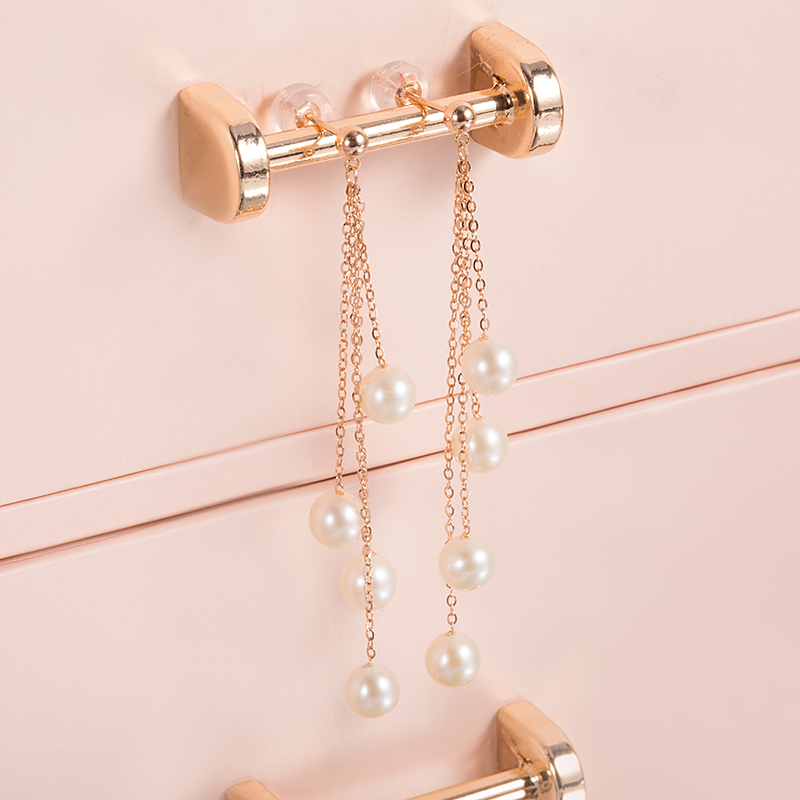 AINUOSHI Tassel Pearl Dangle Earring 18K Rose Gold Pearl Chain Earring Natural Pearl Drop Earrings Women