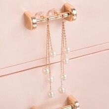 AINUOSHI Tassel Pearl Dangle Earring 18K Rose Gold Pearl Chain Earring Natural Pearl Drop Earrings Women Ear Line Girl Earring fake pearl chain tassel drop earrings