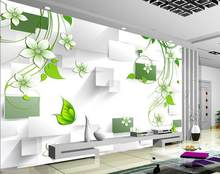3d wallpaper for room Fashion flowers green leaf background wall mural 3d wallpaper photo wall murals wallpaper(China)