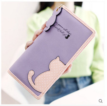 2015 New Hot Fashion Cat Printed Lady Wallet Bags Zipper Coin Purse Handbag Women's Long Style Purse