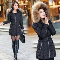 NXH Snow wear wadded jacket female 2018 winter jacket women slim Long Cotton outerwear winter coat women plus size parka women
