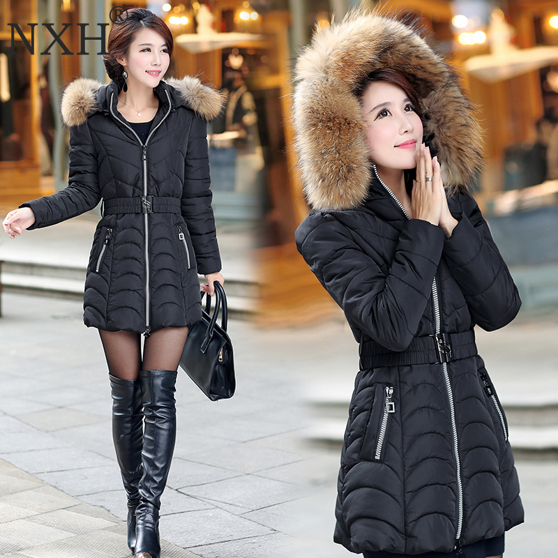 NXH Snow wear wadded jacket female 2018 winter jacket women slim Long Cotton outerwear winter coat women plus size   parka   women