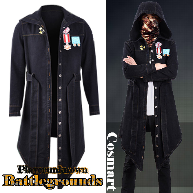Us 6999 Black Denimgame Playerunknowns Battlegrounds Pubg Cosplay Hoodie Trench Costume Coat Embroidery Badges Street High Fashion In Game