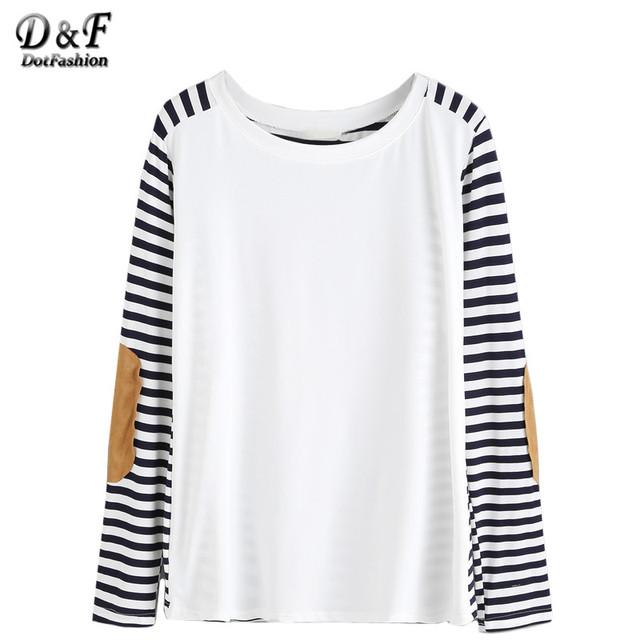 Dotfashion Mujeres de Corea Ropa de Camisa Famosa Marca Mujer Manga Larga Camiseta de Otoño Camisetas Elbow Patch Camiseta A Rayas
