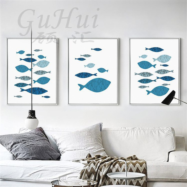 Nordic Fresh Abstract Geometric Blue Fish Canvas Painting Art Poster For Living Room Entrance Hall Decor