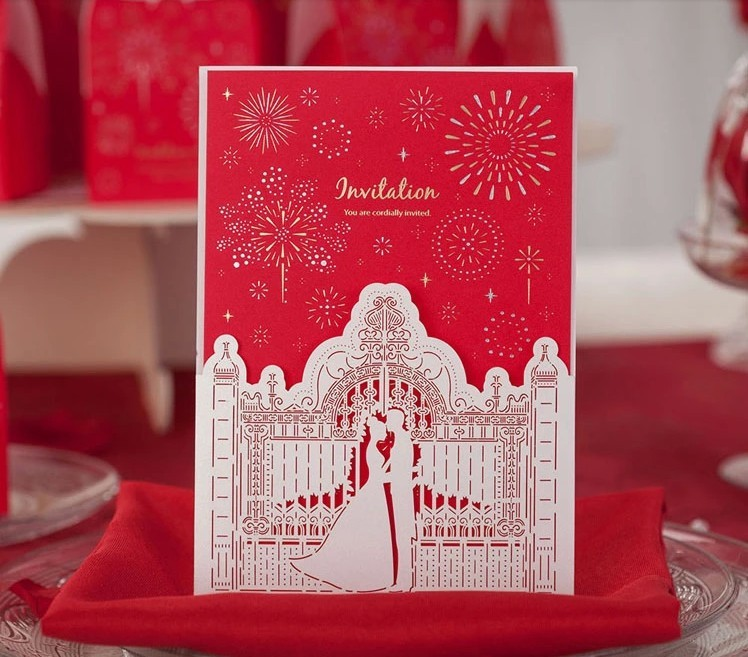 Red Classical Firework Palace Laser Cut Wedding Invitation Card with ...