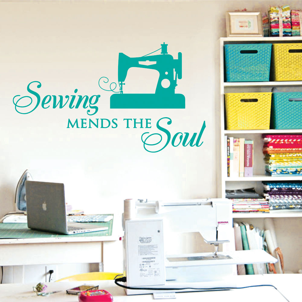 Sewing Mends the Soul ... Saying Vinyl Wall Decals Quote Art Craft  Wall Stickers  Home Decor Size 56*33cm