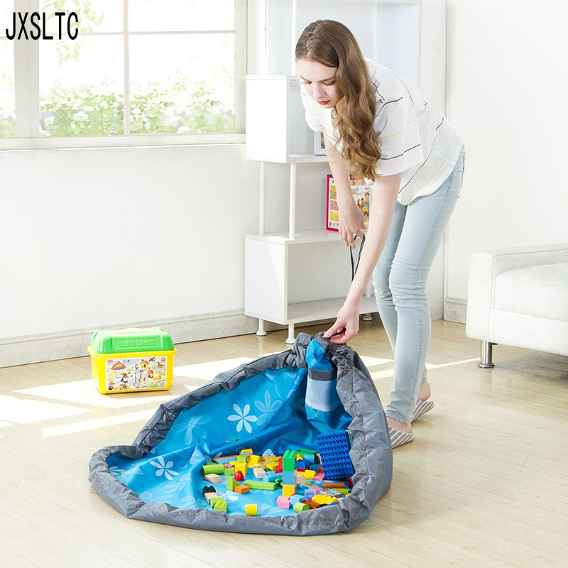 Practical Portable Kids Toy Children Infant Baby Play Mat Large Storage Bags Toys Organizer Blanket Rug Boxes For Lego Toys