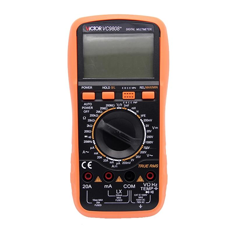 True RMS Ammeter Multitester VC9808+ 3 1/2 Digital Multimeter Resistance Capacitance LCR meter digital multimeter w temperature capacitance frequency test lcr meter ammeter analog multitester