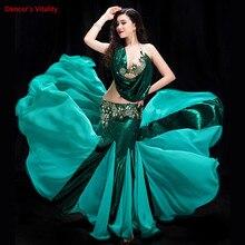 Vestido de competición de danza del vientre para mujer, 2 piezas de espectáculo de baile de vientre en sujetador de disfraz + falda de cola de pez