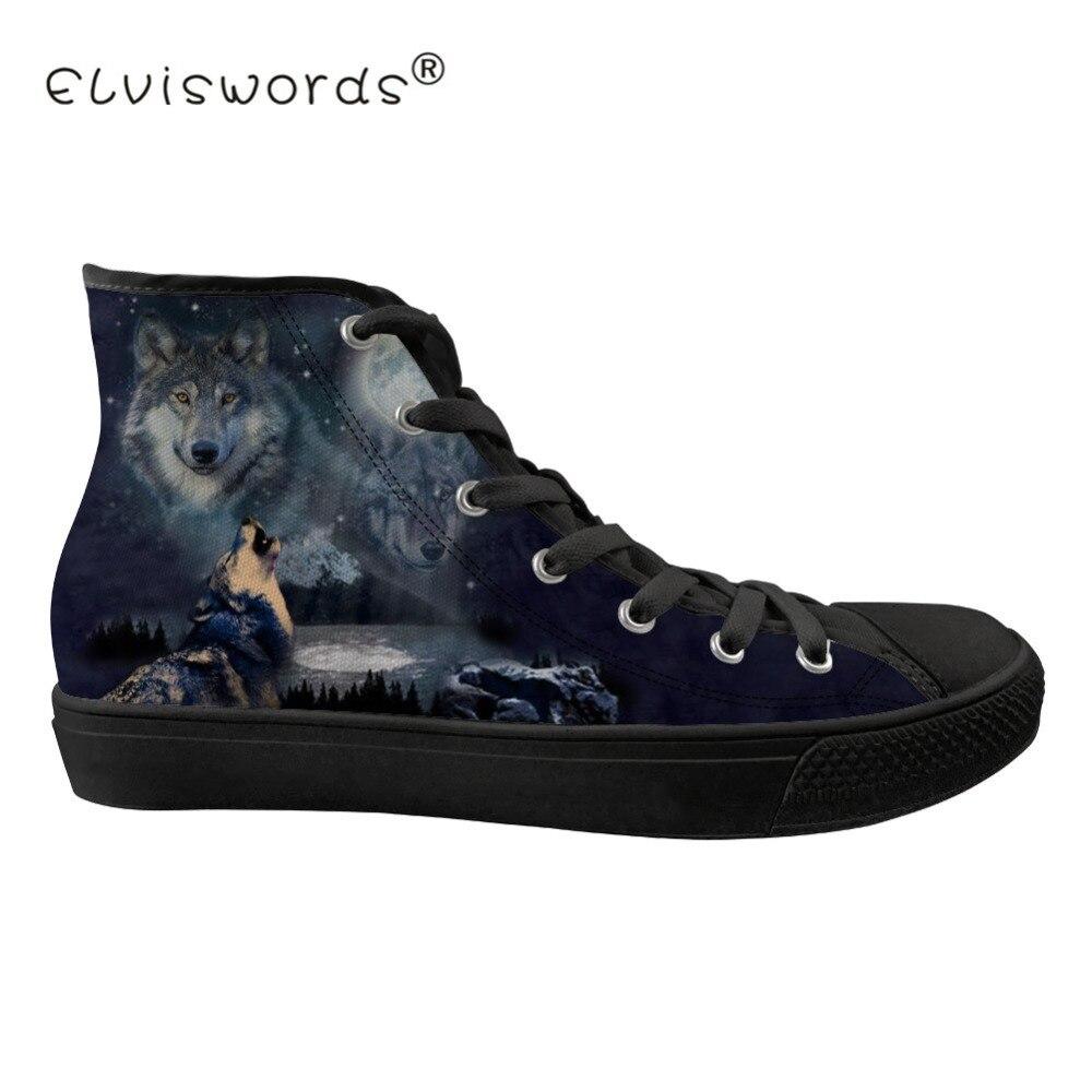 FORUDESIGNS Wolf impression hommes haut top toile chaussures vulcanisées pour homme respirant à lacets espadrilles décontractées Zapatos de hombre