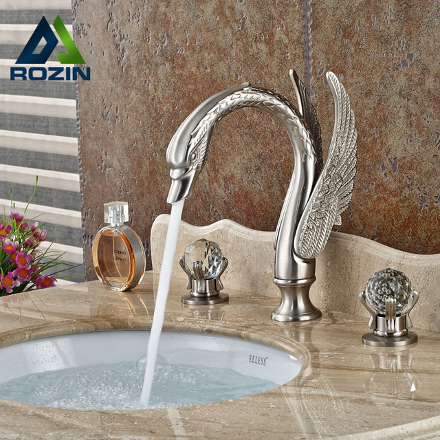 Luxury Bathroom Swan Style Basin Sink Faucet Widespread Bathroom Mixer Taps Brushed  Nickel 3 Holes