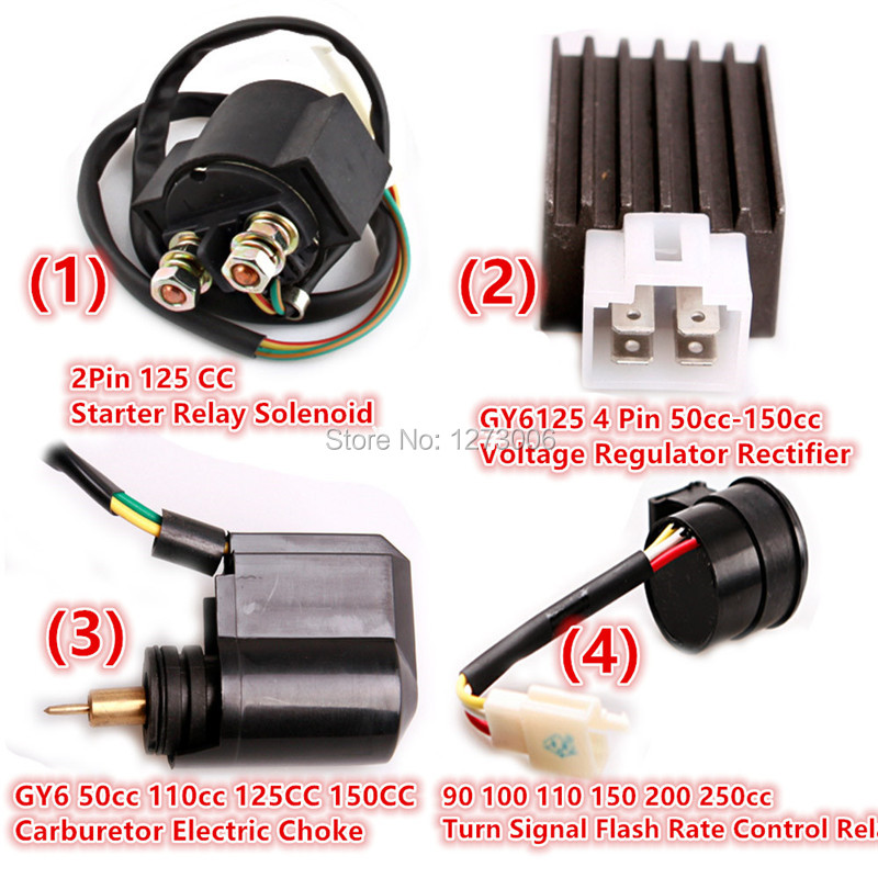 4 sizes motorcycle atv 50cc 250cc starter relay solenoid ... electric choke wiring diagram ford f100