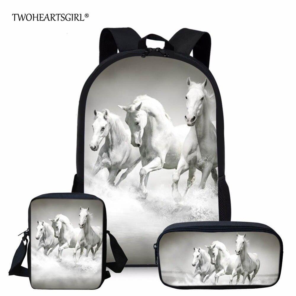 3PCS/SET 3d Crazy Horse Print School Backpack Set For Teenager Girls Boys Cool High School Children Kids Bagpack Child Bookbags