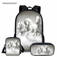 3PCS/SET 3d Crazy Horse Print School Backpack Set for Teenager Girls Boys Cool High School Children Kids Bagpack Child Bookbags
