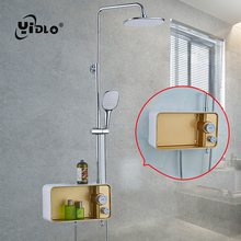 YiDLon Shower Faucet Brass Chrome Wall Mounted Bathtub Rain Head Square Handheld Slid Bar Bathroom Mixer Tap Set