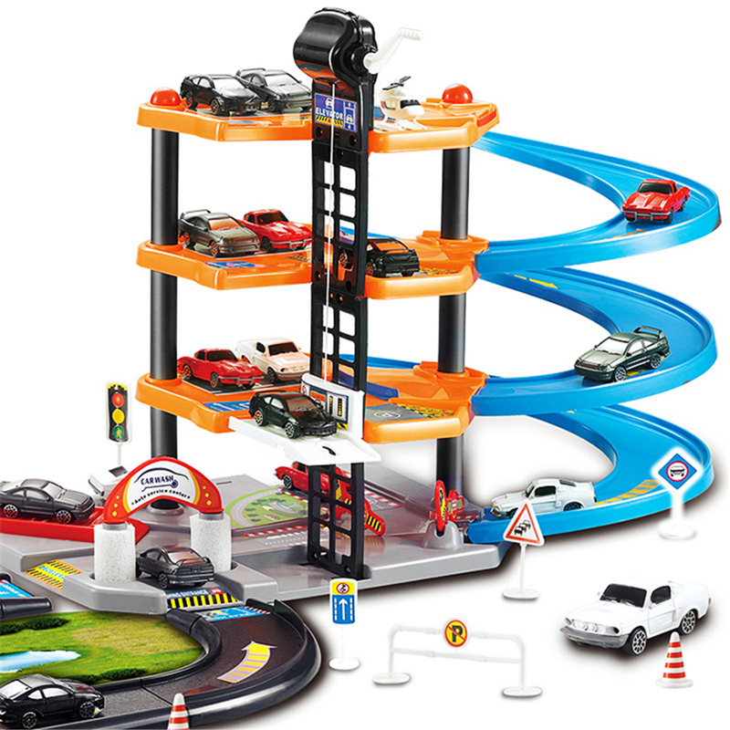 3D Car Racing Track Toys Car Parking Lot Assemble Railway Rail Car Toy DIY Slot Model Toys For Kids Children Birthday