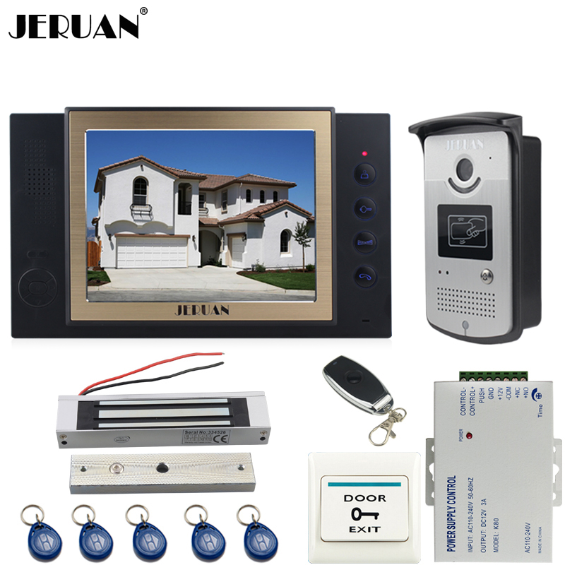 JERUAN black 8`` LCD Video Door Phone System 700TVT Camera access Control System+Magnetic lock+Remote control+8GB card jeruan black 8 lcd video door phone system 700tvt camera access control system cathode lock remote control 8gb card
