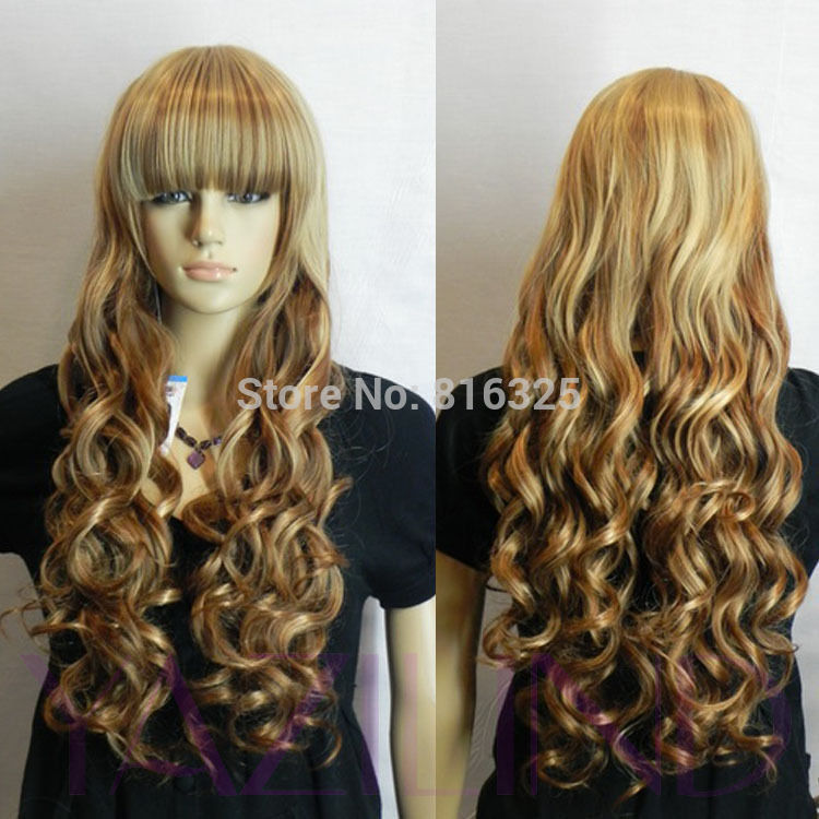 Shun Wholesale Price Blonde Long Wavy Full Bangs Fringe Girl Brown