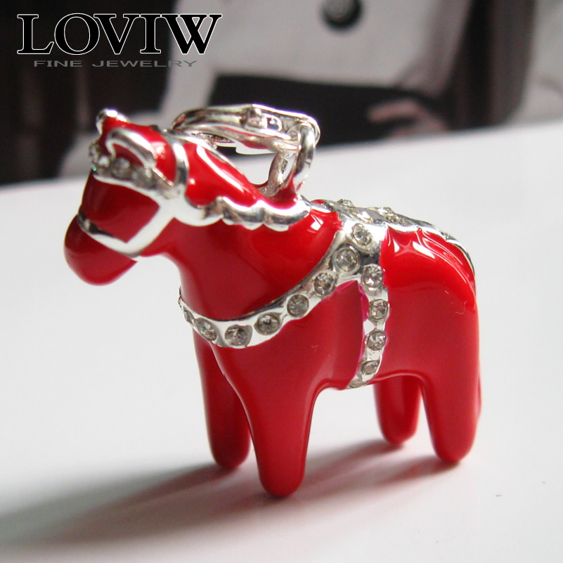 Three-dimensional Big Swedish Dala Horse pendant thomas Style dalarna Jewelry gift 925 sterling Silver charm pendants with clasp