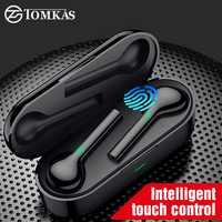 Tomkas mini tws bluetooth fone de ouvido sem fio fones freebud controle toque esporte fone com microfone duplo para o telefone móvel
