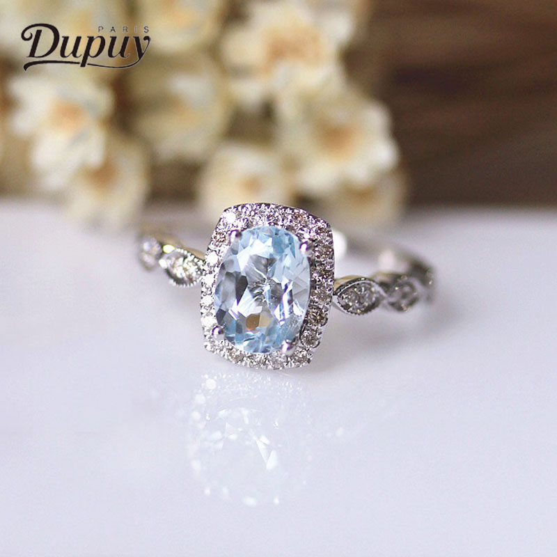 DUPUY Engagement Ring 6 * 8mm 1.4ct Oval Cut High End Blue Aquamarine Ring 14K White Gold Lady Elegant Refined Jewelry D180076