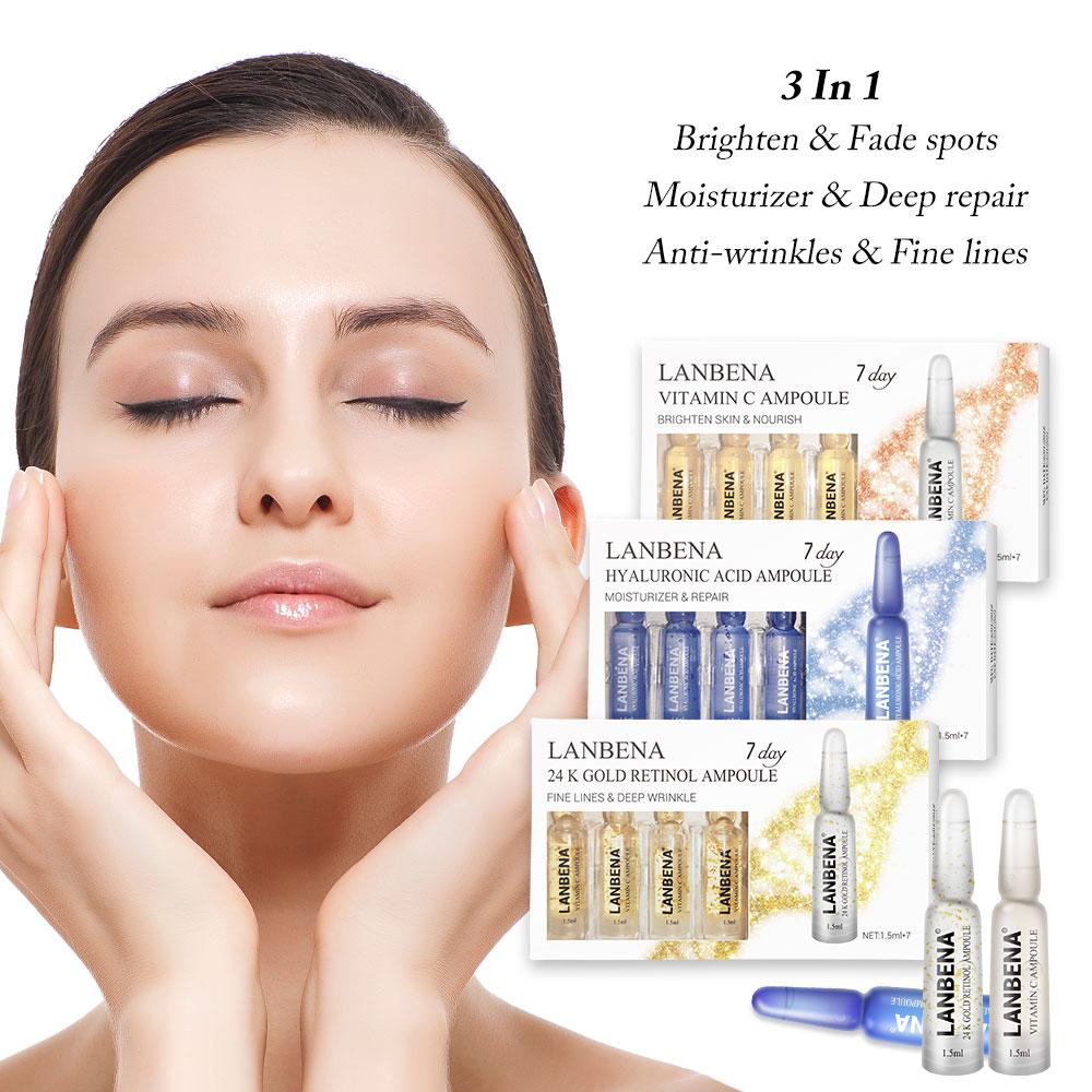 LANBENA 24K Gold Retinol+Q10+Ampoule Serum Hyaluronic Acid+Vitamin C+Anti-Aging Puffiness Wrinkle Moisturizing Serum Skin Care