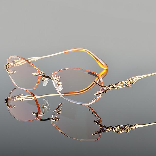 Luxo Tint Lentes Miopia Óculos Óculos de Leitura Óculos Óculos Sem Aro de Diamante De Corte para As Mulheres