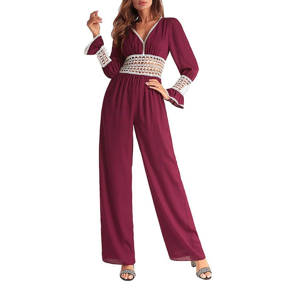 Women Summer Sexy Hollow Out Chiffon Jumpsuits V Neck Lace Long Sleeve Rompers 2018 Full Length Wide Legs Office Lady Jumpsuits