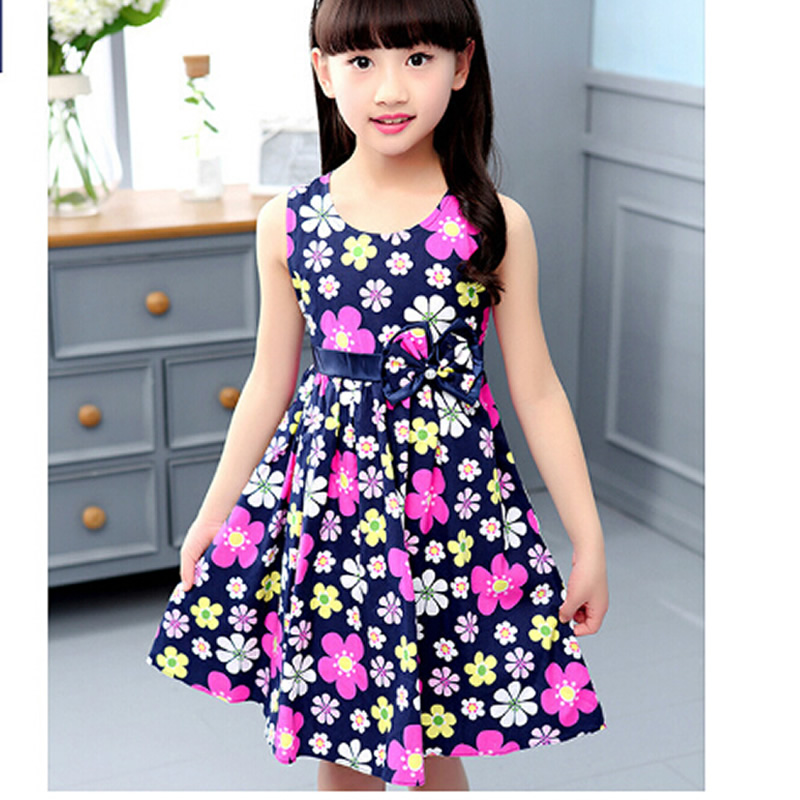 2018 New Arrival Baby Girl Dresses Flower Pattern Baby Girls Clothes