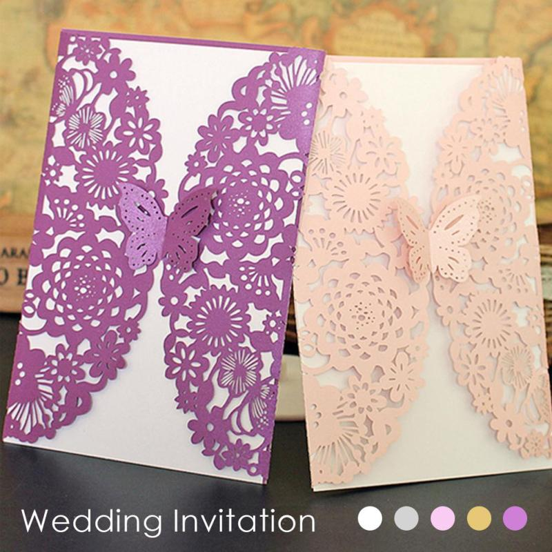10pcs/lot Romantic Laser Cut Lace Wedding Invitation Cards Delicate Carved Butterfly Card Wedding Party Cards Invitation Card K3 1 design laser cut white elegant pattern west cowboy style vintage wedding invitations card kit blank paper printing invitation