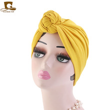 Women Tie Knot Solid Color Turban Twist Headwrap Chemo Cap