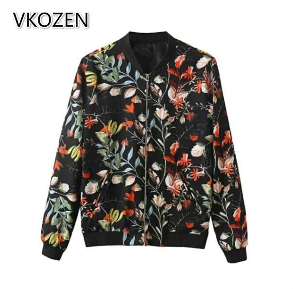 Mujeres vintage flores imprimir bomber jacket coat estilo europeo de manga larga